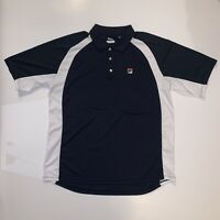 Fila Athletic Polo Collared Blue and White Short Sleeve Shirt Men's Size L