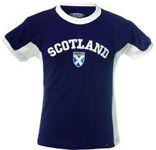 Kids Round Neck T-shirt Scotland Wording No 9 Navy Size 5-6 years