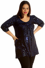 Womens Top Plus Size Ladies Polka Sequin Dot Foil Glitter Party Shirt Nouvelle Blue 26-28