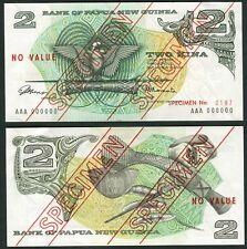Papua New Guinea set of 4 notes 2 - 20 Kina ND(1975) P1s - P4s AU/UNC - SPECIMEN