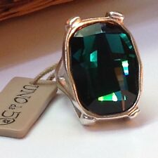 """NWT Uno de 50 Silver-Plated Ring w/ Green Swarovski Crystal """"Hold On"""" 5.5"""