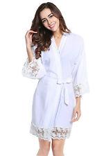 Women Cotton Solid Lace Robe women bride robe Gown Bride Wedding robe