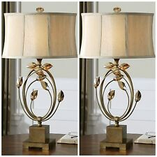 SET OF TWO GOLD METAL TABLE LAMP TEAK CRYSTAL LEAF ACCENTS DESK READING LIGHTS