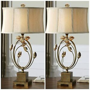 TWO MODERN METAL TABLE LAMP TEAK CRYSTAL LEAVES SILKEN SHADE DESIGNER LIGHT
