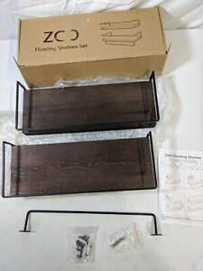 ZGO Floating Shelves for Wall Set of 2 Rustic Wood Wall Mounted Decor Storage