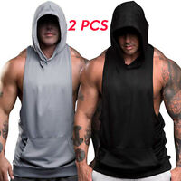 2 Pack Sale Men's Gym Bodybuilding Workout Muscle Sleeveless Hoodies Tank Top