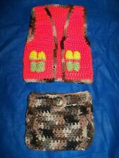 Crocheted Newborn, Baby Hunter Vest & Diaper Cover