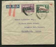 1935 Silver Jubilee Ceylon 55 cents air mail rate to USA