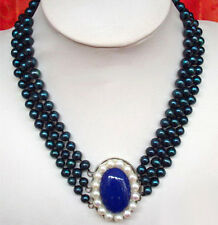 3 Rows Real Black Pearl & Lapis Lazuli White Pearl Clasp Pendant Necklace