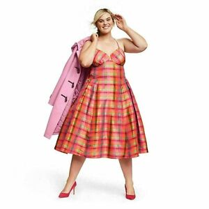 ISAAC MIZRAHI for Target Silk Plaid Dress Pockets Sleeveless V Neck Size 1X