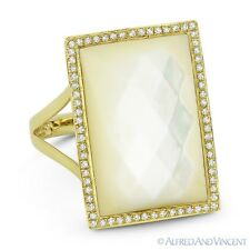 Cushion Cut Mother-of-Pearl Diamond Right-Hand Cocktail Ring in 14k Yellow Gold