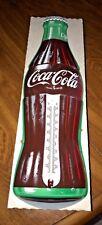 "VINTAGE COKE COCA COLA ADVERTISING BOTTLE SHAPE TIN SIGN THERMOMETER TCA 16.5"""