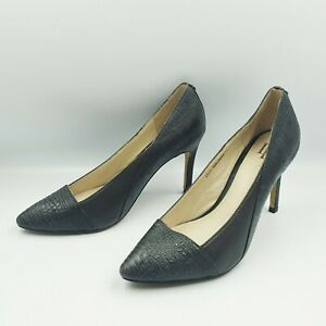 David Lawrence Size 36 Pewter Grey Contrast Patterned Point Toe Stiletto Heels