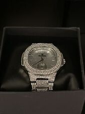 14k White Gold Iced out charles raymond watch