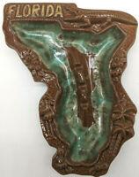 Vintage Ceramic Florida Ashtray/Trinket Dish Color Brown/Green Made in Japan