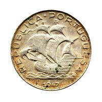 KM# 581 - 5 Escudos - Silver (.650) - Portugal 1947 (EF)