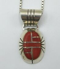 Pendant, Necklace, Box Chain 24 Inch C. Benally Sterling Silver 925, Stone Inlay