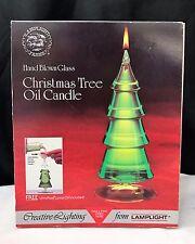 Vintage Lamplight Farms Hand Blown Glass Christmas Tree Oil Candle w/ Oil NIB