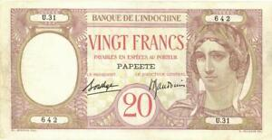 Tahiti 20 Francs Currency Banknote 1928