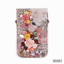 Pu Leather Crystal Pearl Flower Sexy Ladies Cell Phone Bags Cases Wallet Purse