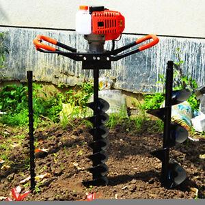 """52cc Benzin Erdbohrer Garten Zaun Digger Hole Borer 2-Takt + 4 """"6"""" 8 """"Bohrer"""