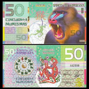 Kamberra 50 Numismas, China Lunar Year 2016, Polymer, UNC Monkey