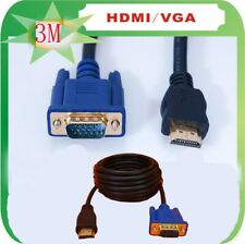 10FT VGA HD-15pin Male M/M Gold Male to HDTV HDMI Cable 1080P 3M For PC TV New