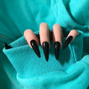 Black Long Stiletto Artificial False Nail Art Tips Press On Nail Manicure Tool
