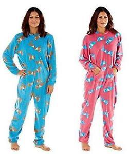 Selena Secrets Womens All In One Horse Print Hooded Pyjama Loungewear, Nightwear