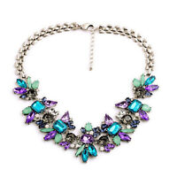 Anthropology Jcrew style Blue Purple Grey Crystal Statement choker Necklace