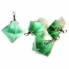 Huge Square 100% Lighe Green Rainbow Fluorite Gemstone Silver  Necklace Pendant