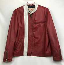 Men's GAP Product Red Leather Moto Motorcycle Jacket ~ Size XL