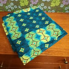 "Vintage Blue & Green Geometric 70's Curtains - Fabric 45.5"" x 66.5"""