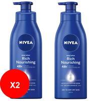 2 x NIVEA 400ml Rich Nourishing Moisturising Body Lotion Dry Skin Moisturiser