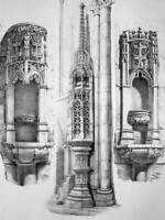 FRANCE Semur Cathedral Obelisk & Holy Water Basins - SUPERB 1843 Antique Print