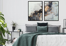 A3 A4 Set of 2 Modern Wall Pictures Frame Posters Abstract Marble Grey Gold