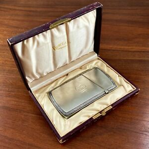 EARLY GORHAM STERLING SILVER CARD CASE SATIN FINISH W/ ORIG. BOX 1850S
