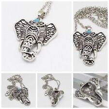 Retro Charming Metal Silver Necklaces Bohemia Turquoise Elephant Pendants