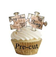 PRECUT Personalised Engagement - Wedding - Shabby Chic Jigsaw Cup Cake Toppers