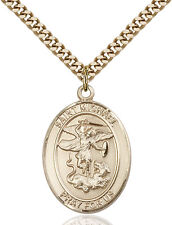 14K Gold Filled St Michael Paratrooper Military Soldier Catholic Medal Necklace