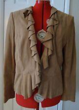Beige Suede Leather Ruffle Elie Tahari Lined Jacket Blazer - Large NWT $390
