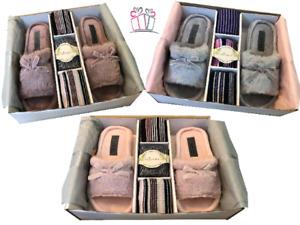 Slipper Boxed Gift Set, Ladies Peep toe Fur Mule's 3 Pairs of Bamboo Socks,