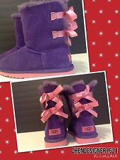 Ugg Boots 5 US 4 UK  FIT adult 7.5M,8N Bailey Bow Purple Reign Sheep Skin New