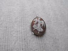 Vintage Sterling Silver Cameo Pin Brooch Pendant Woman Child Angel Cherub Cupid