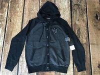 RVCA BONE SKULL SWEATER HOODIE CARDIGAN BLACK GREY MENS SIZE XL X-LARGE NEW $96