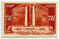 """FRANCE STAMP TIMBRE YVERT N° 316 """" MONUMENT DE VIMY 75c """" NEUF x TB"""