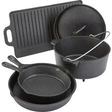 Camping Cookware Set Cast Iron 5 Piece Dutch Oven Skillet Pans Lid Griddle Pot