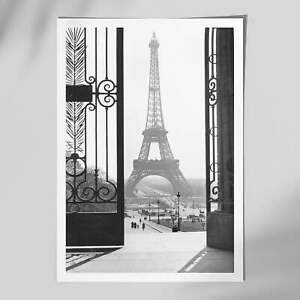 A View of Eiffel Tower Black & White Wall Art Print, Vintage Style, Framed Print