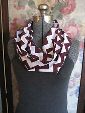 Maroon Burgundy Chevron Stripe jersey knit youth teen lightweight Infinity Scarf