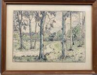 F. Winsløw Aquarell Federzeichnung Blick durch Baumgruppe auf Häuser 34 x 43 cm